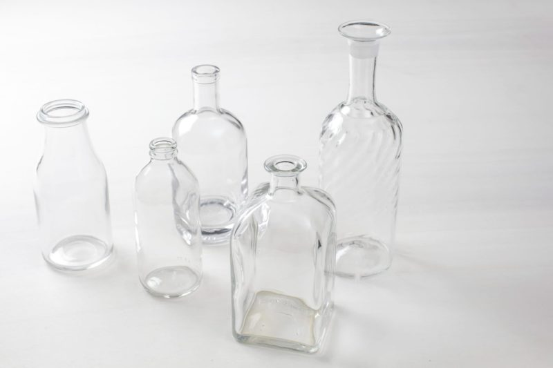 Glass bottles, glass vases, preserving jars and wedding decoration for hire