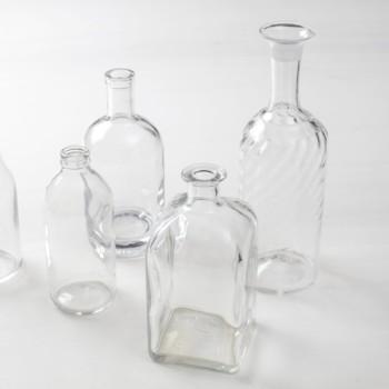 Glasflaschen, Glasvasen, Einweckgläser, Hochzeitsdeko zu mieten