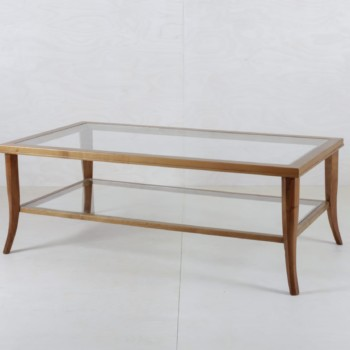 Coffee Table Anastasio Wood Glass | A combination of wood and glass. Coffee table Anastasio offers lots of space for your guests. | gotvintage Rental & Event Design