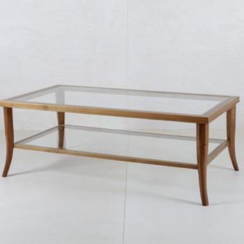 Couchtisch Anastasio Holz Glas | Eine Kombination aus Holz und Glas. Couchtisch Anastasio bietet viel Platz für ein gemütliches Beisammensitzen Eurer Gäste. | gotvintage Rental & Event Design