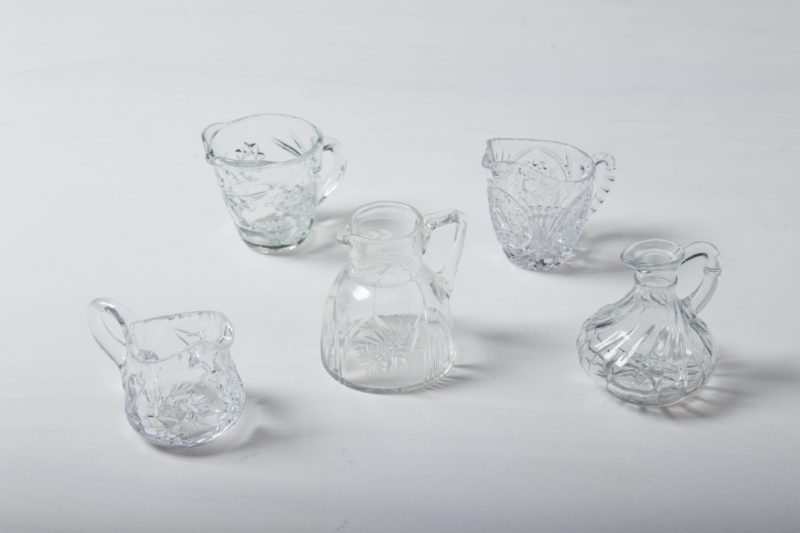 Milk Jug Beatrisa Crystal | These milk and cream jugs made of vintage crystal glass give any festive set table a romantic look. With their delicate ornaments and their beautifully curved, bulbous shape, they complete every cake board. They are also suitable as beautiful, small flower vases.Matching the milk jugs we also offer sugar bowls and numerous vases and dishes made of crystal. | gotvintage Rental & Event Design