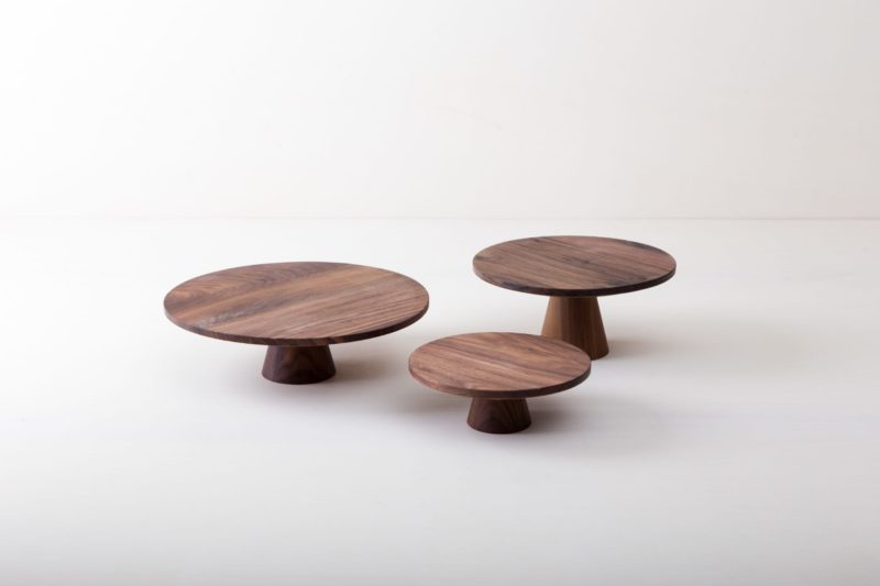   The noble wooden cake stands Leonor in Wabi-Sabi style are perfect for presenting and serving cakes, cupcakes, sushi and other specialties. They are made of selected walnut wood and coated with beeswax, naturally food safe.This cake stand is available in different sizes and also as the same model Alba made from  terracotta, this is covered with shiny lacquer. They can be wonderfully combined and varied.  