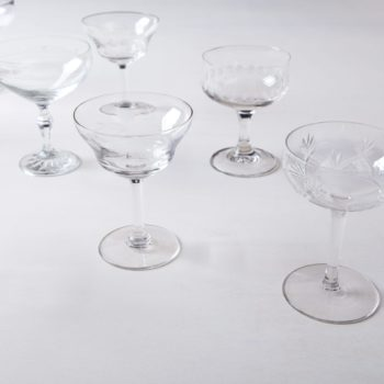 Champagne Coupe Patricia Mismatching | Cheers! These vintage mismatching champagne glasses for festive toasting are available in various beautiful shapes and sizes. Out of the same line Patricia we offer mismatching wine, tumbler, glasses for sparkling wine, whiskey, water and colored shot glasses. The measurements are approximate, as each champagne coupe is different. | gotvintage Rental & Event Design