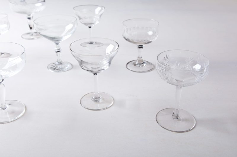 Champagne Coupe Patricia Mismatching | Cheers! These vintage mismatching champagne glasses for festive toasting are available in various beautiful shapes and sizes.Out of the same line Patricia we offer mismatching wine, tumbler, glasses for sparkling wine, whiskey, water and colored shot glasses.The measurements are approximate, as each champagne coupe is different. | gotvintage Rental & Event Design