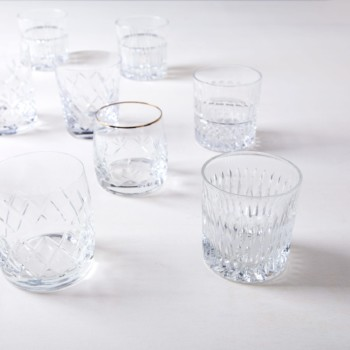 Lowball Glass Patricia Mismatching | Cheers! These charming mismatching whiskey glasses for a complete vintage look, come in different shapes and sizes.  Gorgeous and stylish, some of the vintage glasses are playfully decorated with different patterns, others elegantly with gold rim. The vintage Glasses of the Patricia series are a charming collection, to which we rent matching mismatching wine and water glasses, champagne glasses, and coloured shot glasses of the Patricia series. | gotvintage Rental & Event Design
