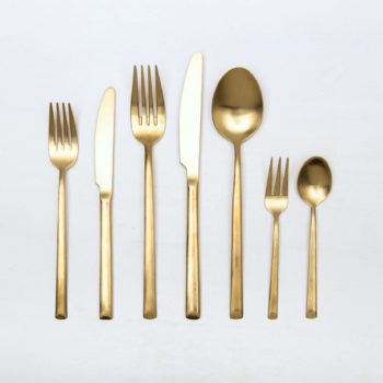 rent cutlery set for events. golden cutlery