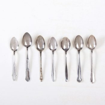 Vintage coffee spoon for espresso, silver-plated cutlery with nice patina, various patterns.