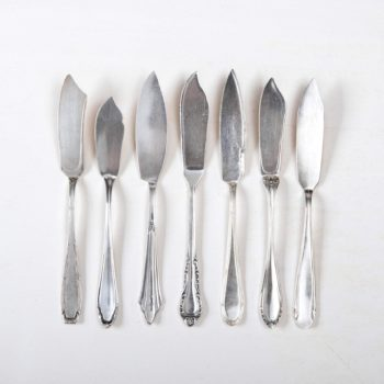 Vintage fish knife, silver-plated cutlery with nice patina, various patterns.