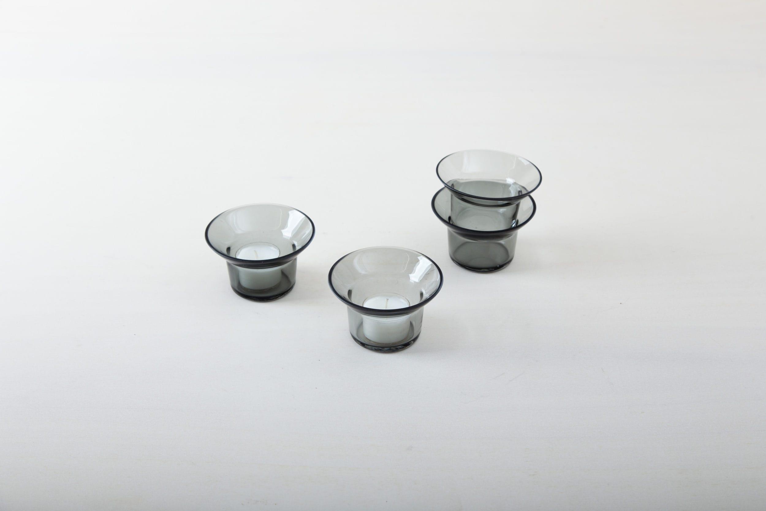 Schlichter Teelichthalter, graue, Glas, Eventdekoration, mieten
