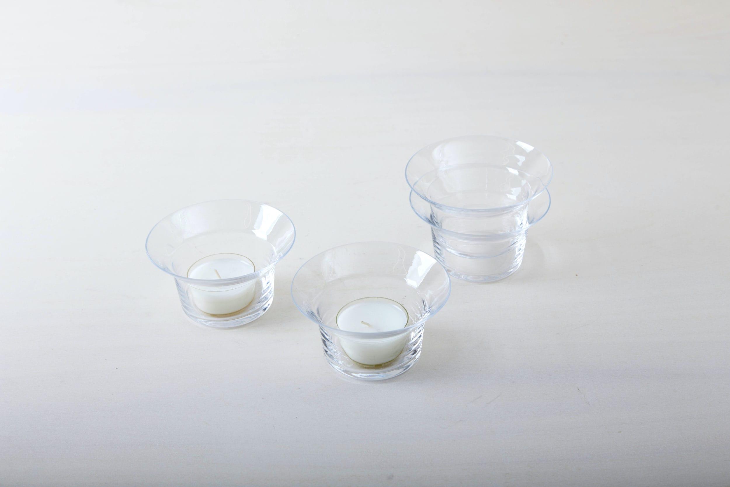 Schlichter Teelichthalter aus klarem Glas verschiedene Größen zu mieten
