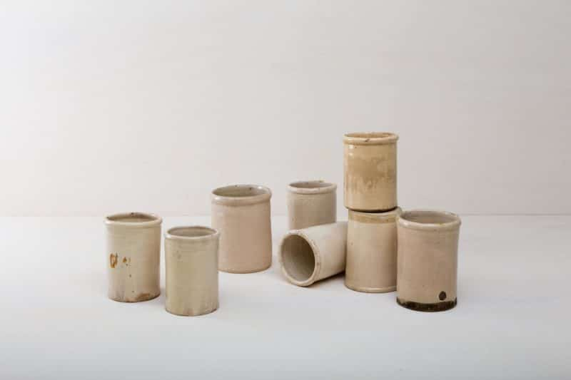 vases ceramic pots, ceramic vessels, buffet table Beautiful patina with slight chips.