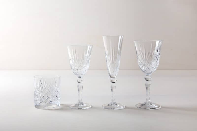 Wine glasses retro style. Crystal glass. Tumbler for rent.