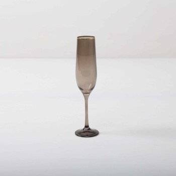Rent champagne flute with gold rim and smoked glass look