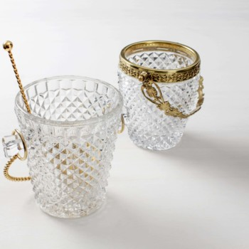 vintage ice buckets for rent. ice cube table setting and wedding decoration.