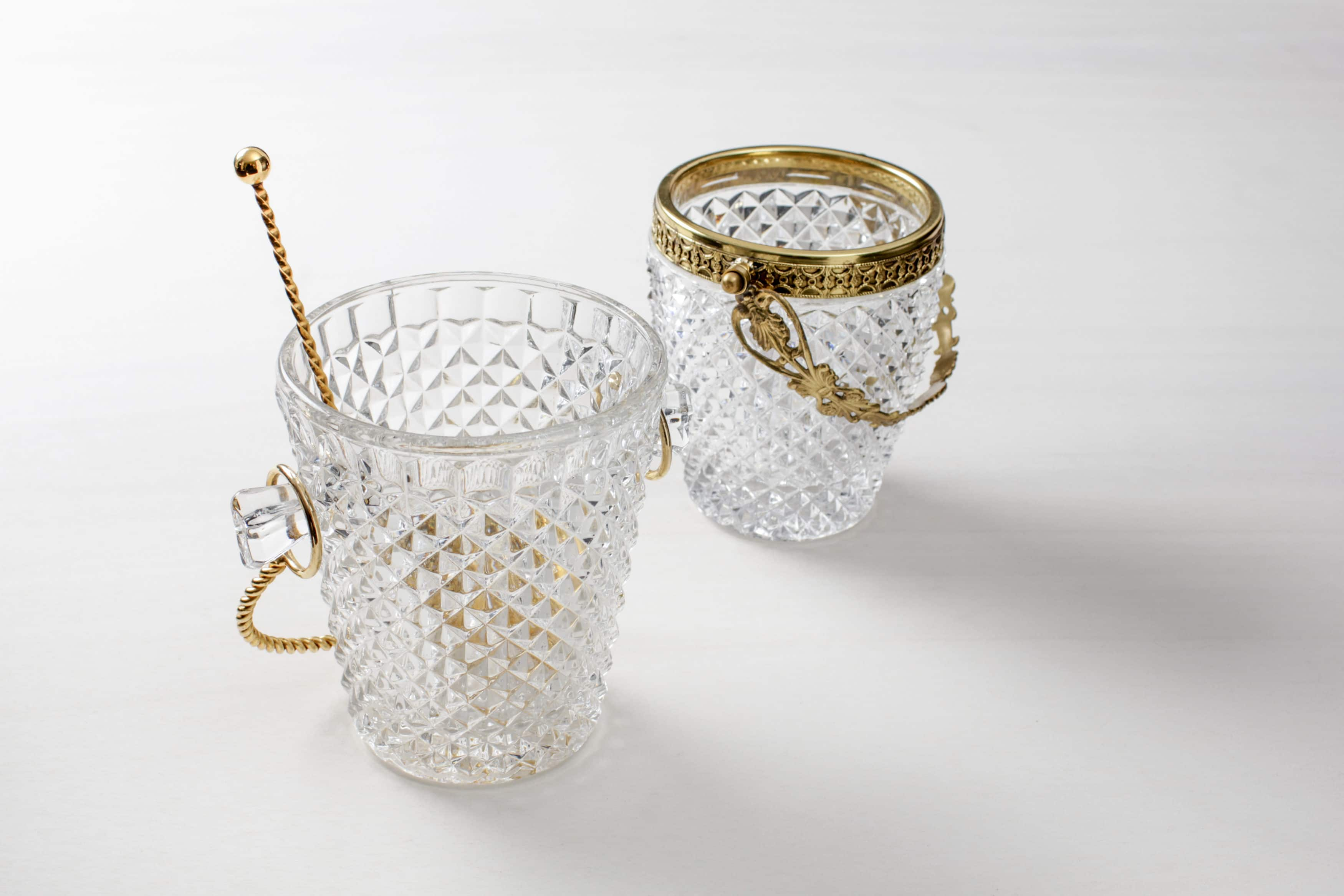 Vintage Eiswürfelbehälter aus Kristallglas mieten
