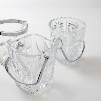 Silberner Glas Eiswürfelbehälter zu mieten