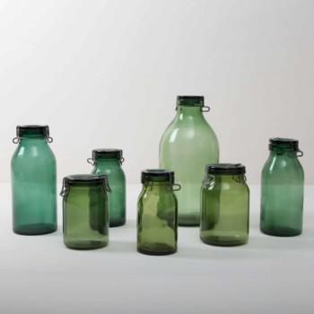 grüne Gläser und Vasen im Vintagestil mieten. Bülacher Einmachgläser
