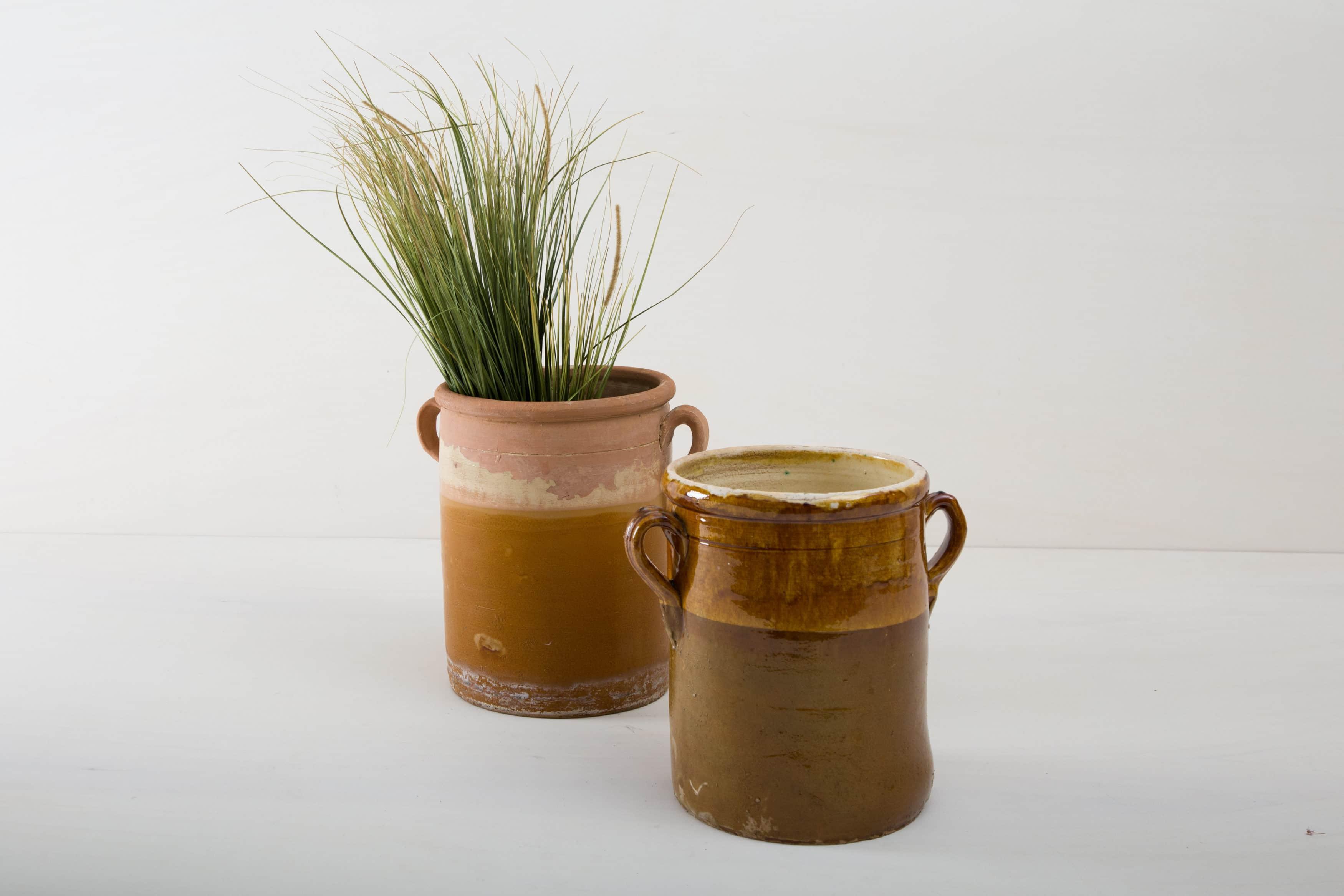 Vintage Vase Italien mieten. Tontopf mit Pampagras
