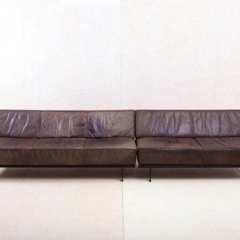 large vintage leather couch for event or lounge to rent