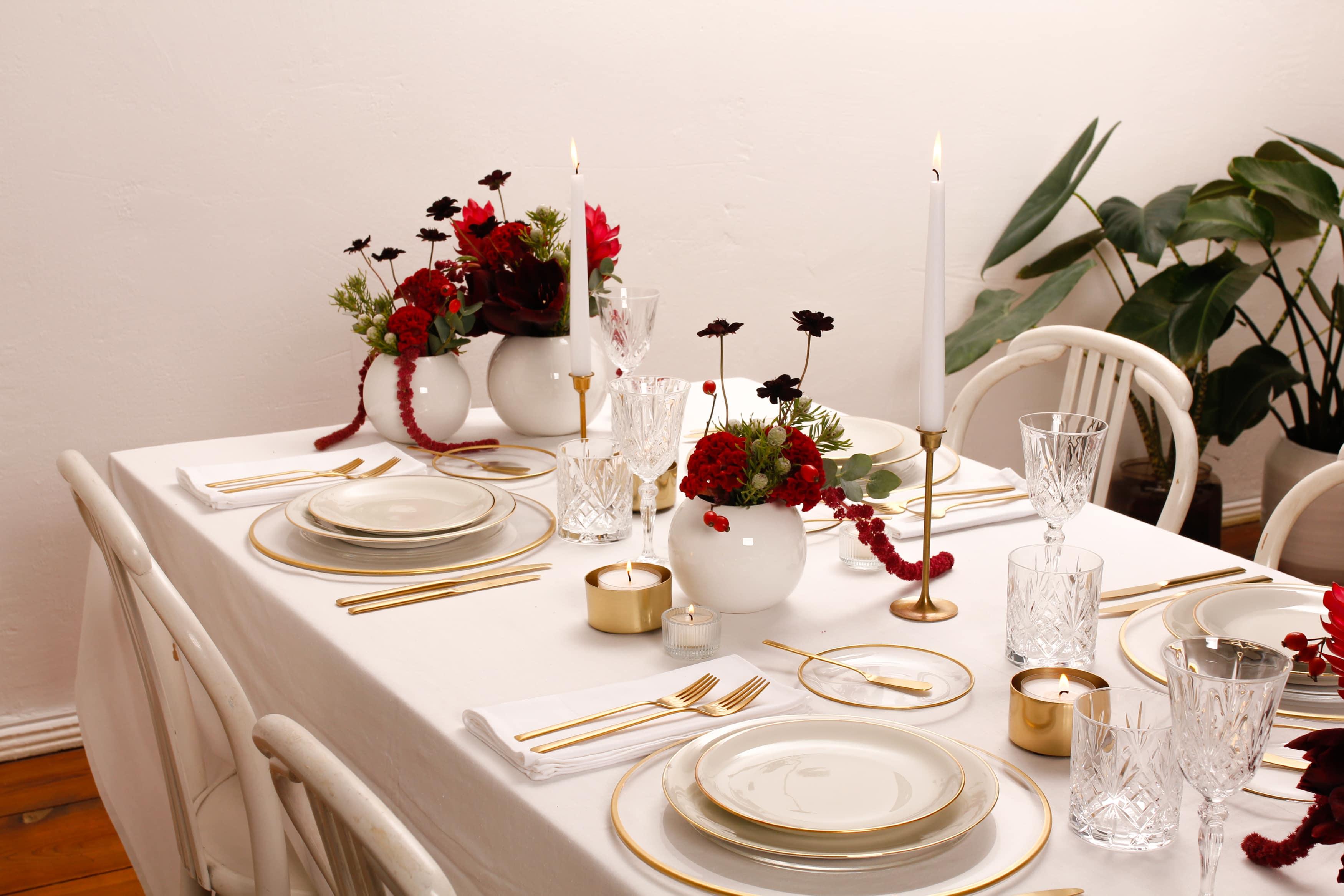 geschirrsets mieten hygienisch sauber, dekoration, kerzen weihnachten