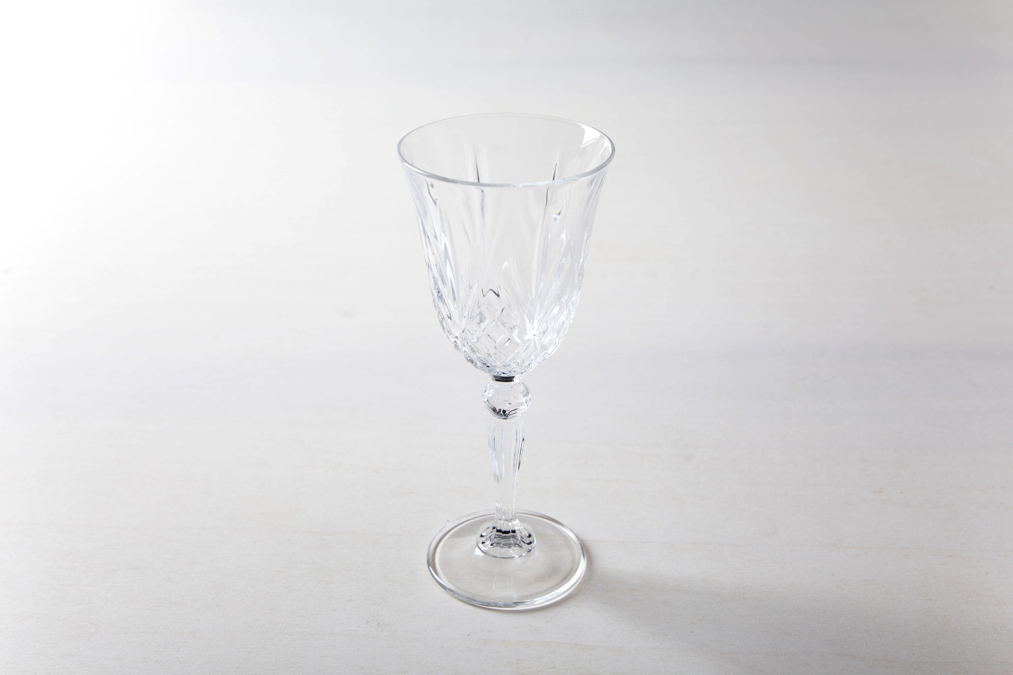 White wine glass retro style. Crystal glass.