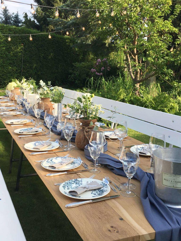 tableware rental, plate, wine glass, water glass, dessert spoon, dinner plate